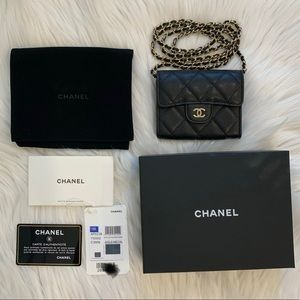 Chanel caviar quilted card holder on Chain